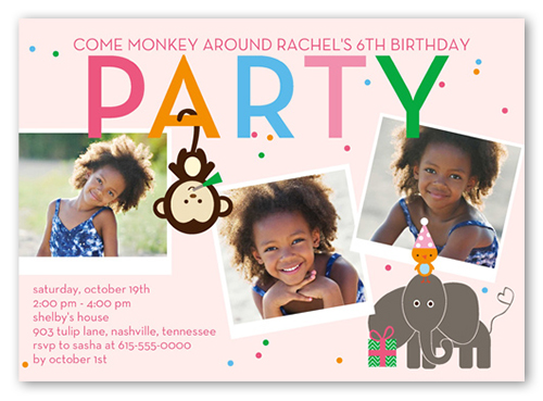 Party Safari Birthday Invitation, Square