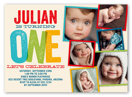 Big One Blocks Boy Birthday Invitation 5x7 Flat