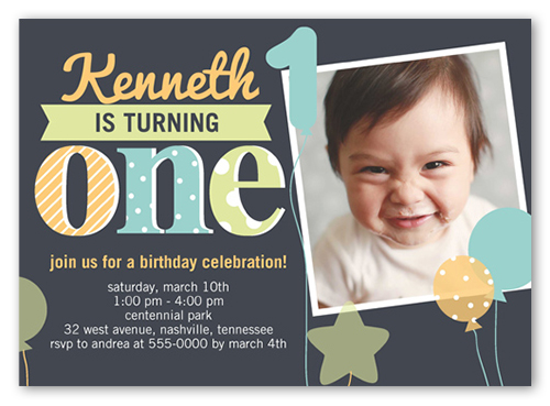 Fun Balloons Boy First Birthday Invitation