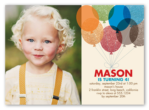 Glitter Balloons Boy Birthday Invitation, Square Corners