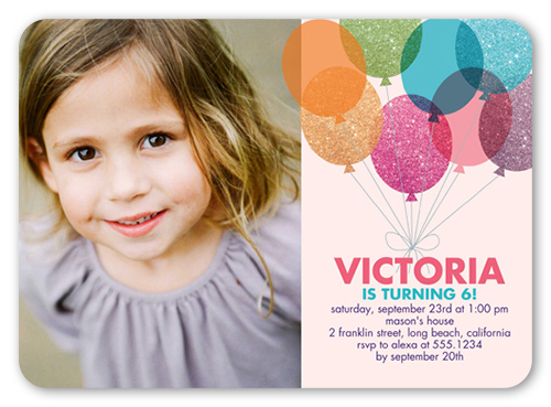 Glitter Balloons Girl Birthday Invitation