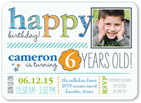 White 5x7 Boy Birthday Invitations Party Invites