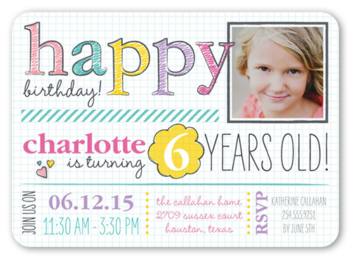 Handwritten Happy Girl Birthday Invitation, Rounded Corners
