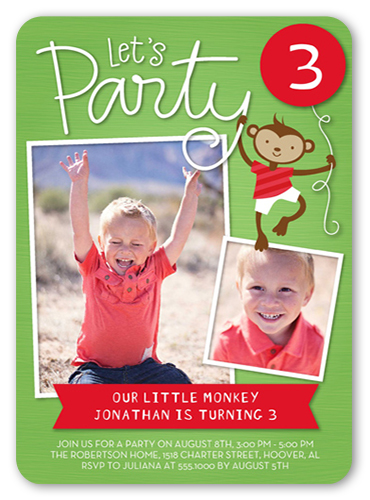 Party Monkey Birthday Invitation by Stacy Claire Boyd