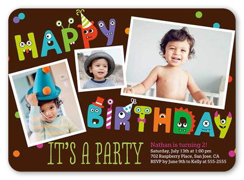 monster letters boy 5x7 invitation | boy birthday invitations, Birthday invitations