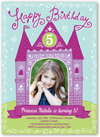 princess castle birthday invitation 5x7 flat