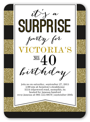 Striped Surprise Birthday Invitation