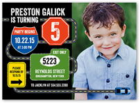 Traffic Signs Birthday Invitation 5x7 Flat