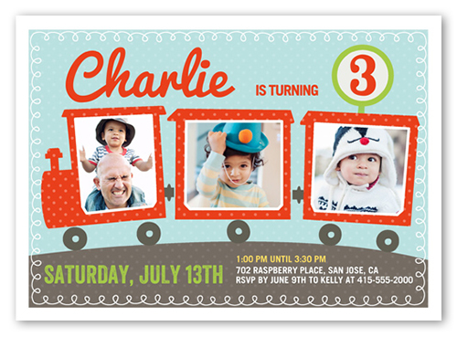 Party Train Birthday Invitation, Square Corners