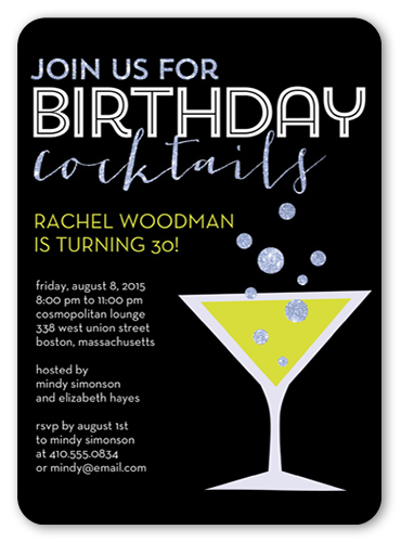 Birthday Martini Birthday Invitation by Éclair Paper Company