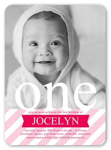 Stripe Girls X Invitation Twin Birthday Invitations Shutterfly - Birthday invitation for one year baby