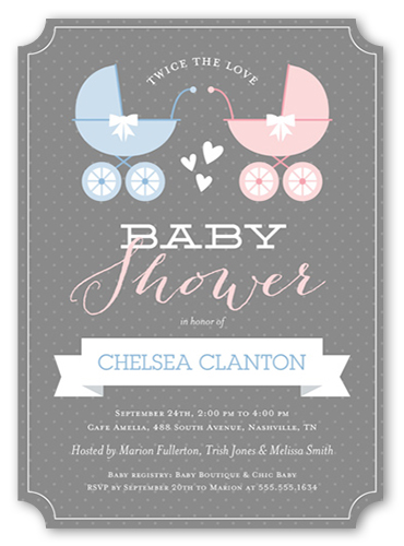 Buggy And Banner Twins Baby Shower Invitation, Ticket Corners