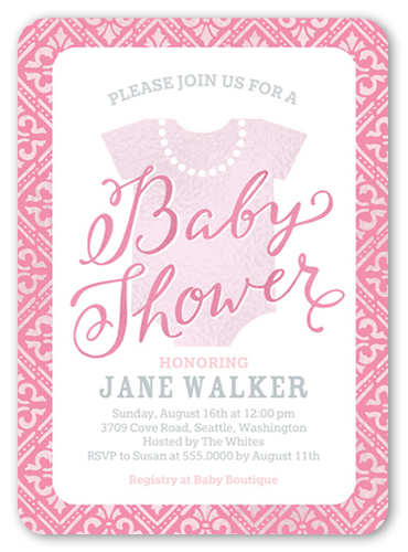 fancy onesie girl x greeting card  baby shower invitations, Baby shower invitations