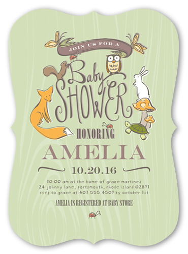 Woodland Party Boy Baby Shower Invitation