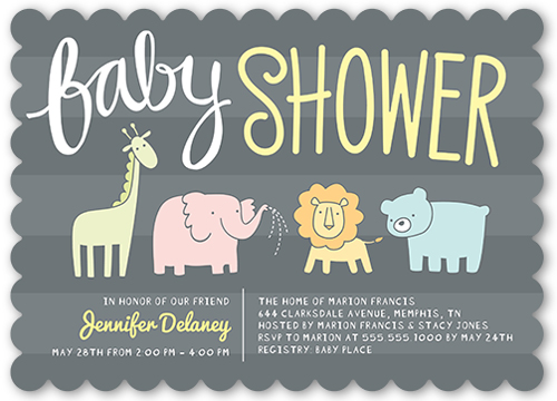 animal parade 5x7 invitation card | baby shower invitations, Baby shower invitations