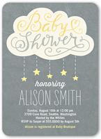 showering stars girl baby shower invitation 5x7 flat