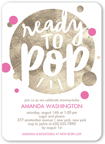 about to pop girl baby shower invitation by