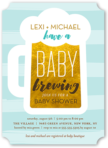 Baby Brewing Boy 5x7 Greeting Card Baby Shower Invitations
