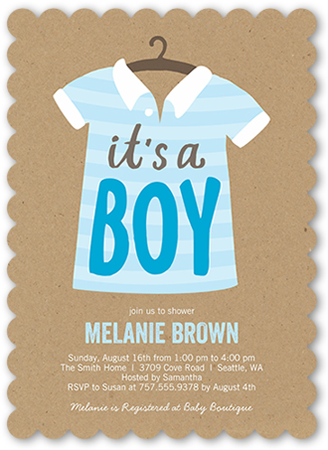 Stylish Boy Baby Shower Invitation, Scallop Corners
