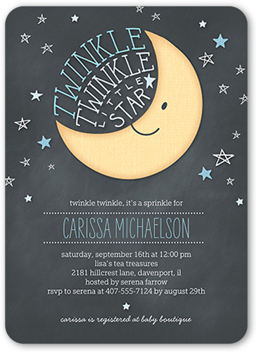 Twinkle Twinkle Boy Baby Shower Invitation, Rounded Corners