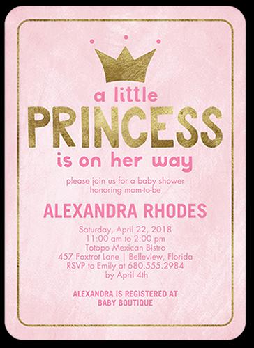 Newborn Princess Baby Shower Invitation, Rounded Corners