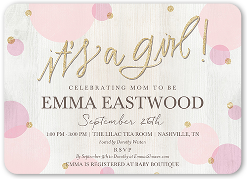 Newborn Confetti Girl Baby Shower Invitation