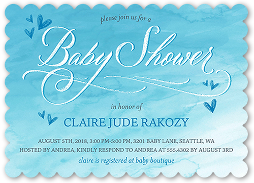 Arriving Watercolor Boy Baby Shower Invitation, Square
