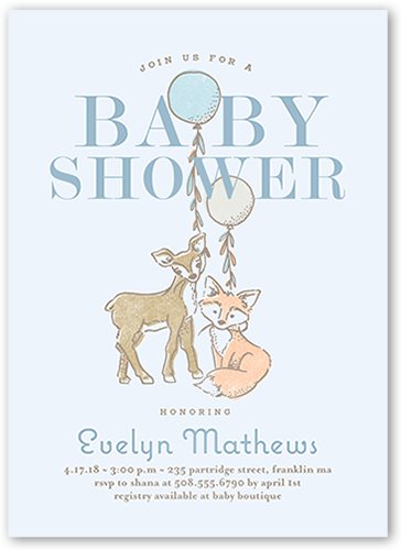 Animal Joy Boy Baby Shower Invitation, Square Corners
