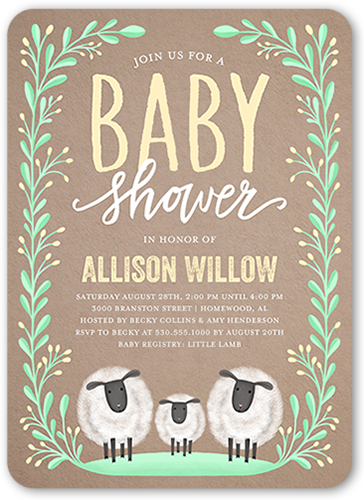 Laurel Arrival Baby Shower Invitation, Rounded Corners