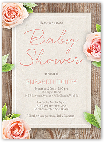 Floral Woodgrain Baby Shower Invitation, Square Corners