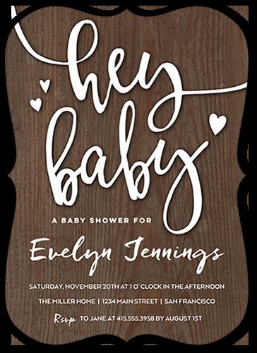 Hey Woodgrain Baby Shower Invitation, Bracket Corners