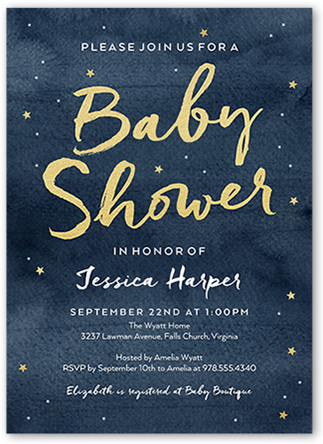 Starry Watercolor Baby Shower Invitation, Square Corners