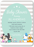 disney mickey and friends stripe baby shower invitation 5x7 flat