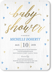 raining love boy baby shower invitation 5x7 flat