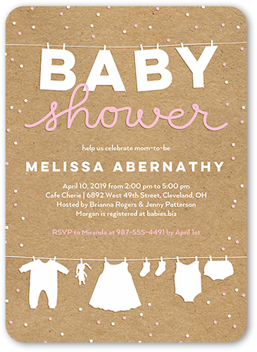 Cute Linens Girl Baby Shower Invitation, Rounded Corners