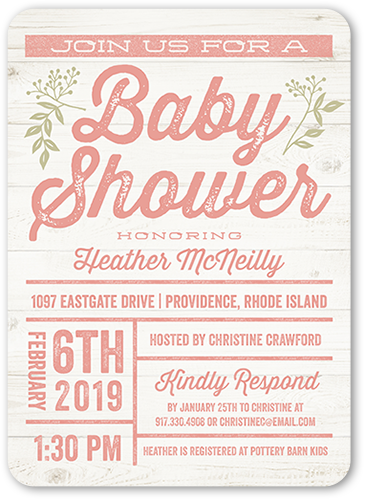 Arrival Grid Girl Baby Shower Invitation, Rounded Corners