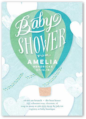 Floating Arrival Boy Baby Shower Invitation, Square Corners