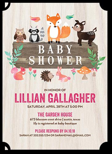 Sweet Animals Girl Baby Shower Invitation, Ticket Corners