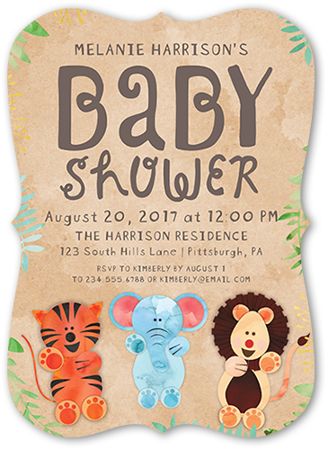 Cute Animal Kraft 5x7 Baby Shower Invitation Cards Shutterfly