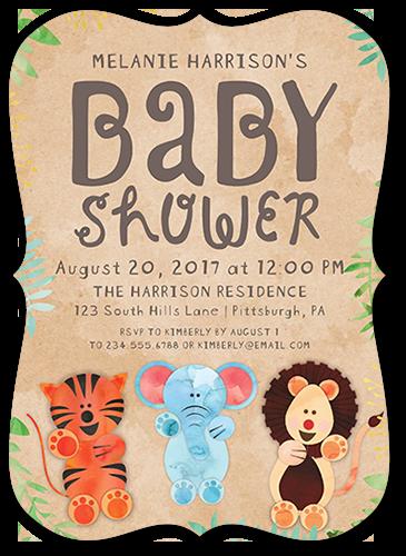 Cute Animal Kraft Baby Shower Invitation, Bracket Corners