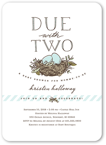 Due With Two Baby Shower Invitation, Rounded Corners