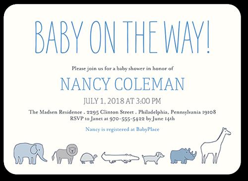 Baby Safari Boy Baby Shower Invitation, Rounded Corners