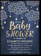 starlit clouds boy baby shower invitation