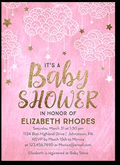 starlit clouds girl baby shower invitation