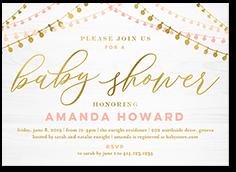 ornate lights baby shower invitation