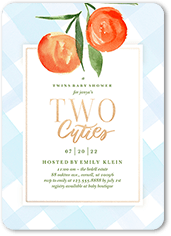 two cuties baby shower invitation