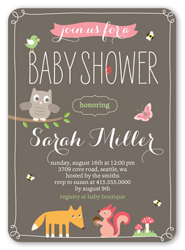 Whimsical Woodlands 5x7 Invitation Baby Shower Invitations