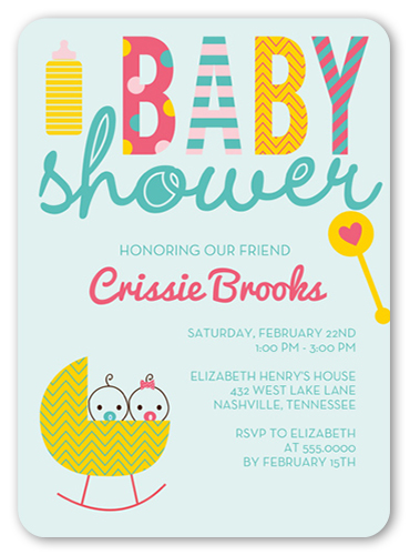 Seven things to include on your baby shower invites shutterfly cute cradle twins baby shower invitation filmwisefo Image collections