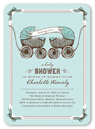 Precious Pram Boys Baby Shower Invitation, Rounded Corners