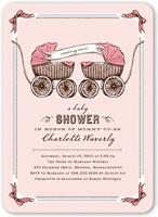 precious pram girls baby shower invitation 5x7 flat